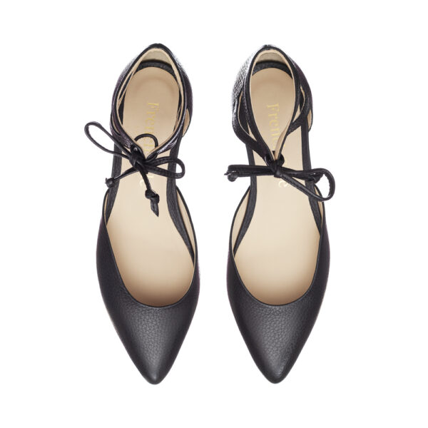 Image 3 for Penelope Ankle Tie Black Leather (PAT05)