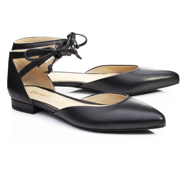 Image 4 for Penelope Ankle Tie Black Leather (PAT05)