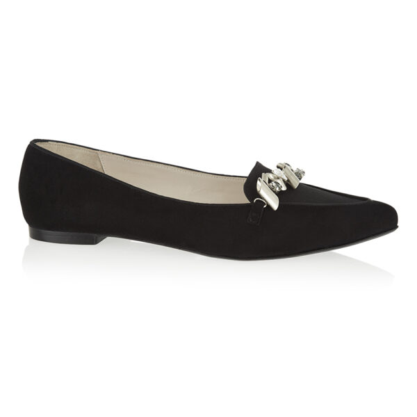 Image 1 for Penelope Black Suede With Metal Trim (PENL04)