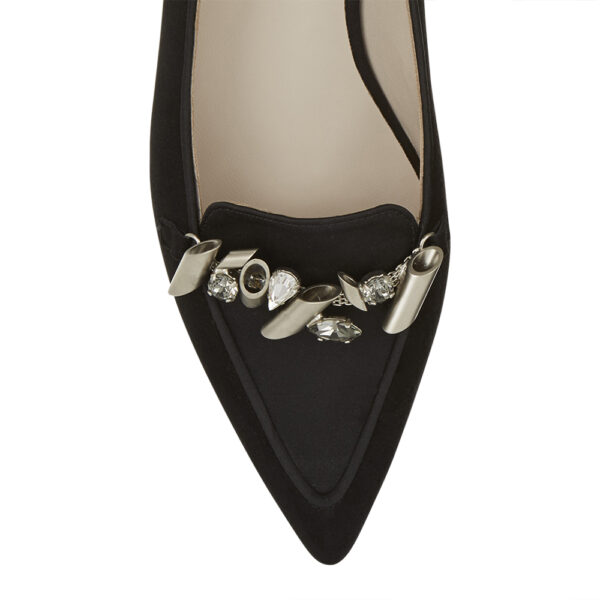Image 2 for Penelope Black Suede With Metal Trim (PENL04)