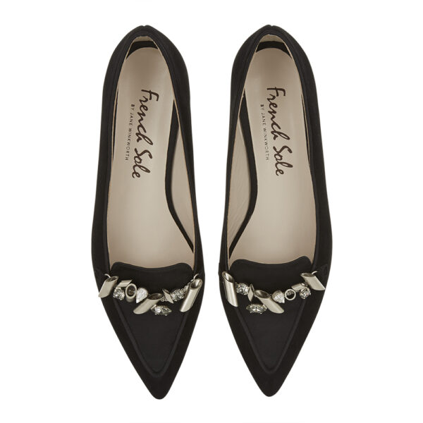 Image 3 for Penelope Black Suede With Metal Trim (PENL04)