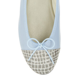 Image 2 for Sturdy Pale Blue Leather Metallic Croc Toe (SD285)