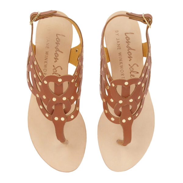 Image 3 for Glastonbury Gladiator Natural Hide Leather With Gold Stud Detailing (TPO01)