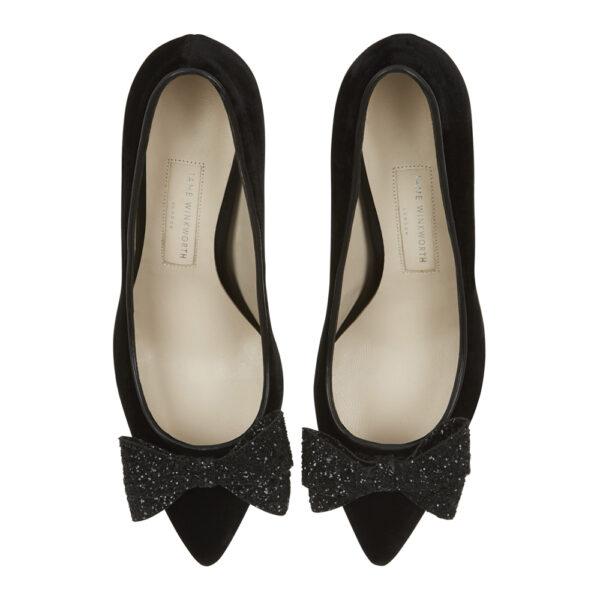Image 3 for Brenda Heel Black Velvet Glitter Bow (BMH02)